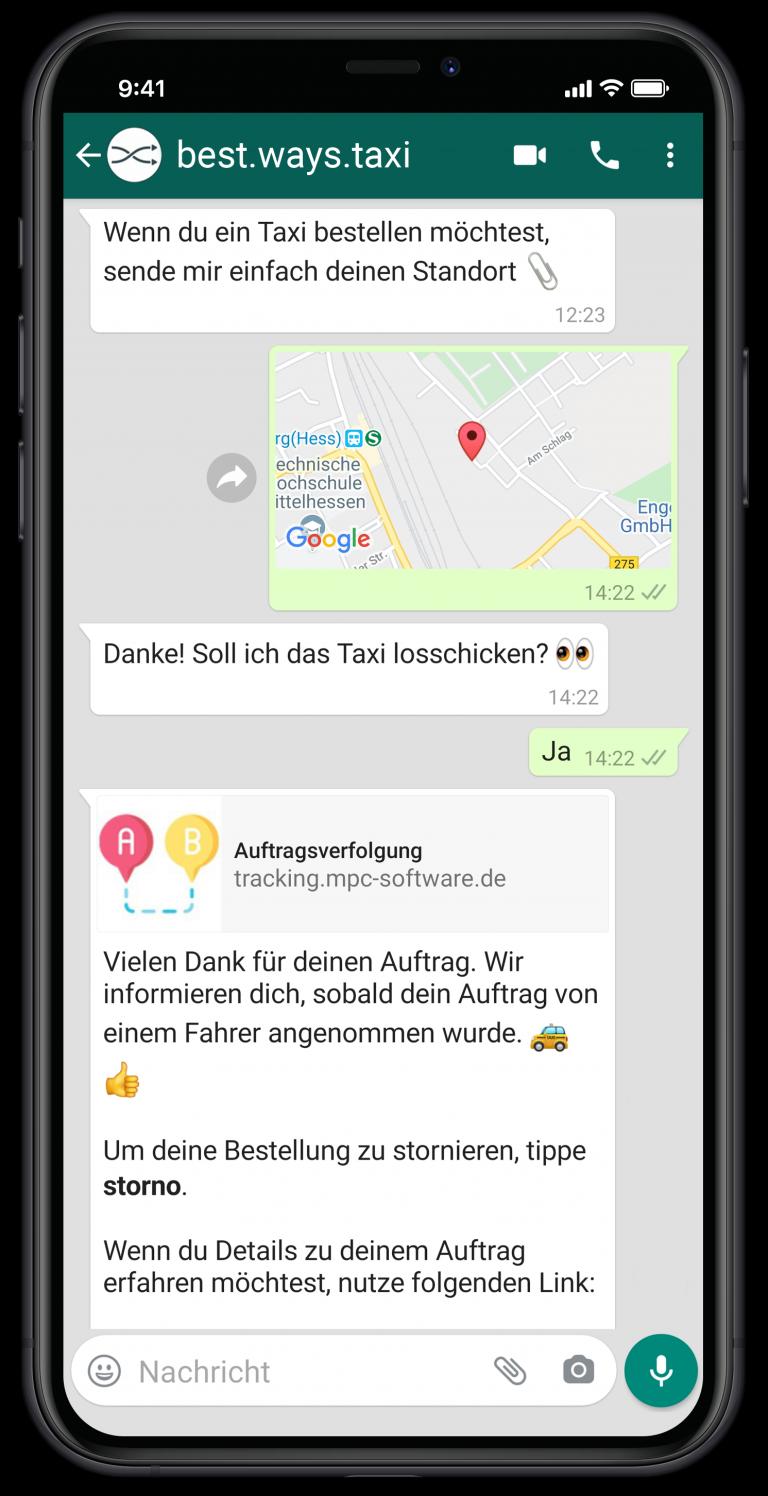 Ein Chatfenster der WhatsApp Taxibestellung