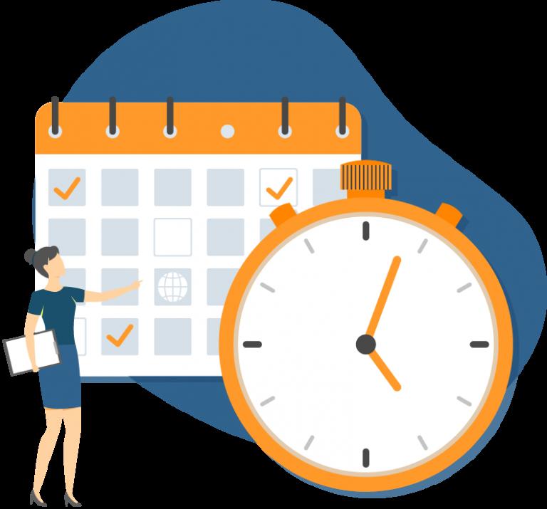 Ein Kalender und eine Uhr